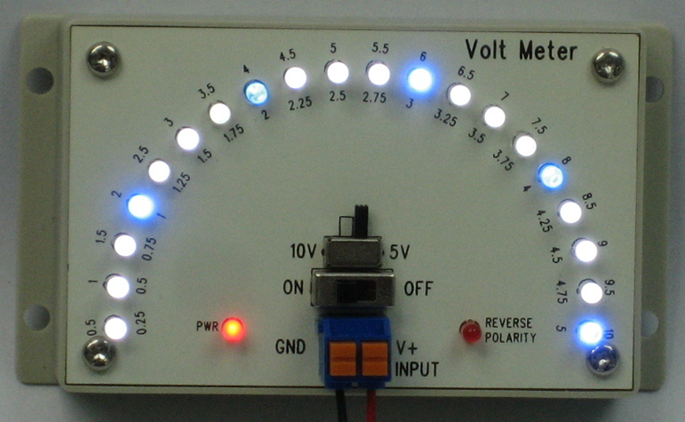 LED Voltmeter in Red, Greed, Yellow LED for monitoring voltage